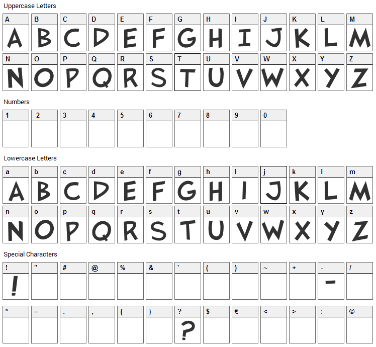 JaysFX Font Character Map