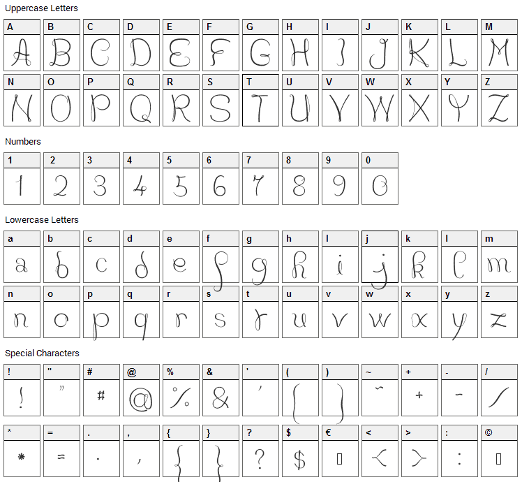 JB Courbes Font Character Map