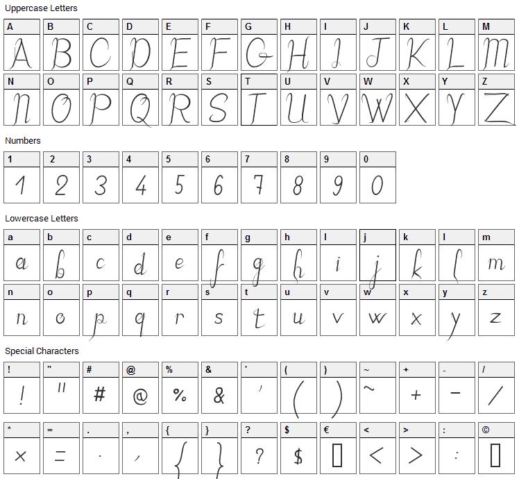 JB Elegant Font Character Map