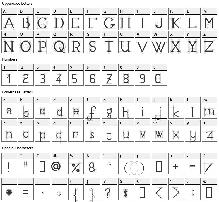 JB Etude Font Character Map