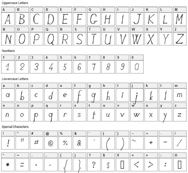 JB Lames Font Character Map