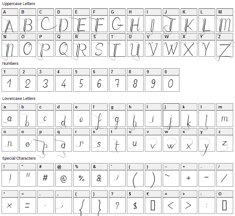 JB Style Font Character Map