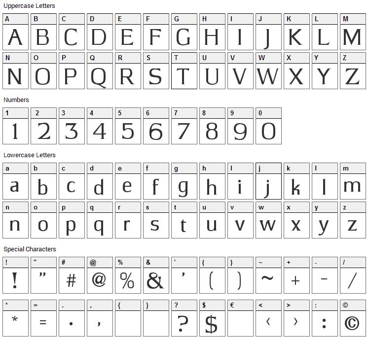 JBarrett Font Character Map