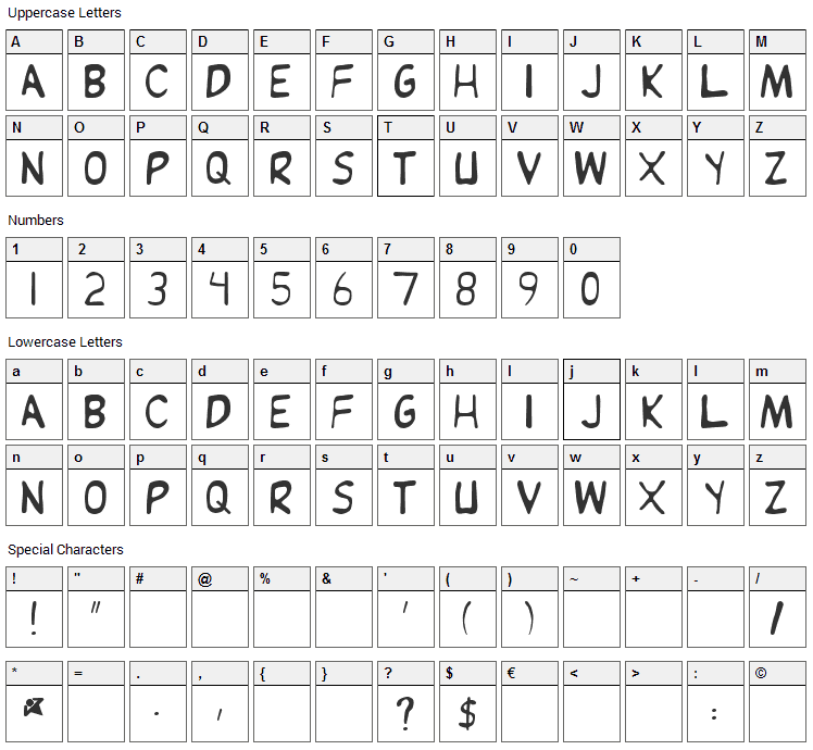 Jean is Dead Font Character Map
