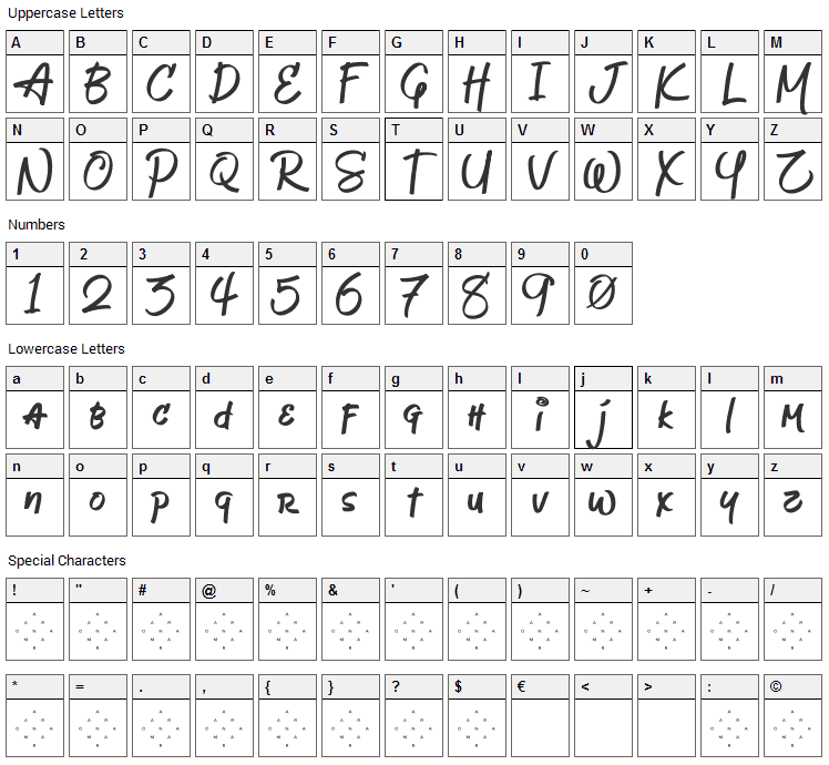 Jeboy Font Character Map