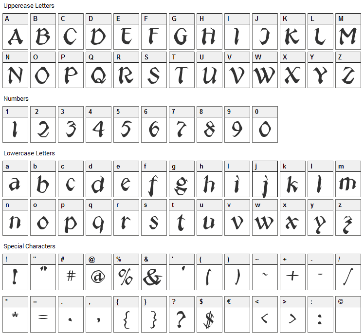 Jeepney Font Character Map