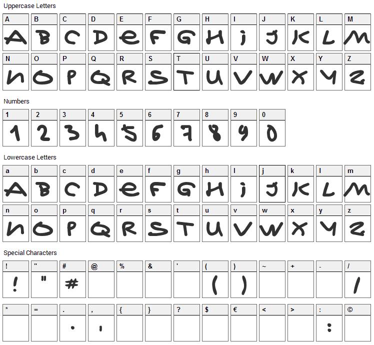 Jeff Kovalsky Font Character Map