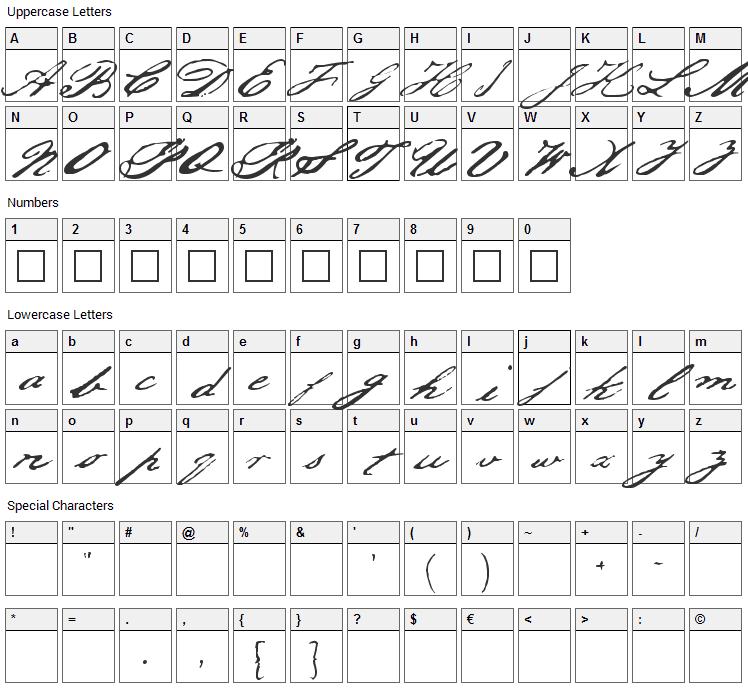 Jefferson Font Character Map