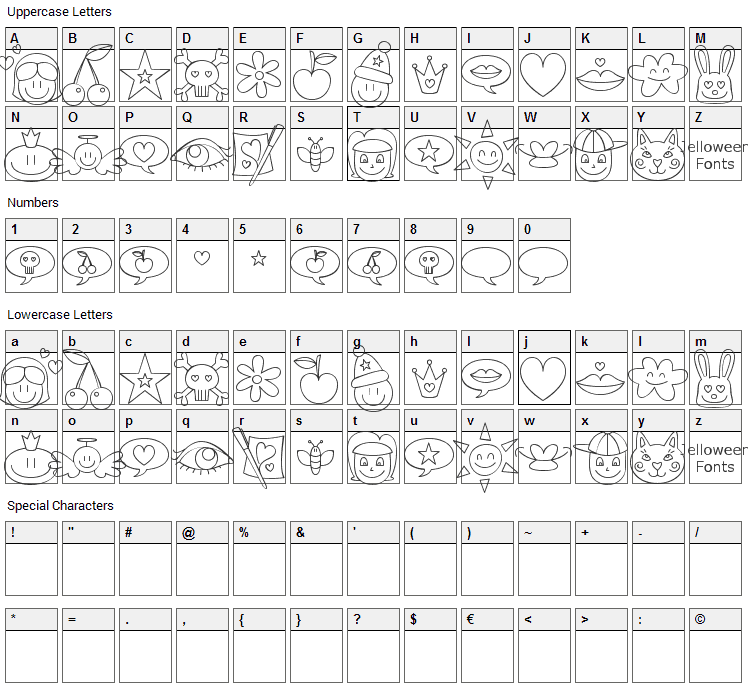 Jellodings Font Character Map