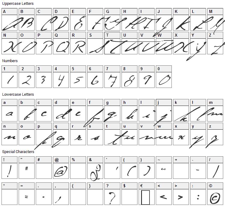 Jellyka - Gare de Chambord Font Character Map