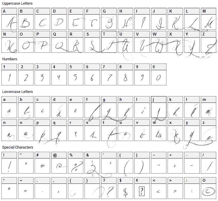 Jellyka Vampire Street Font Character Map