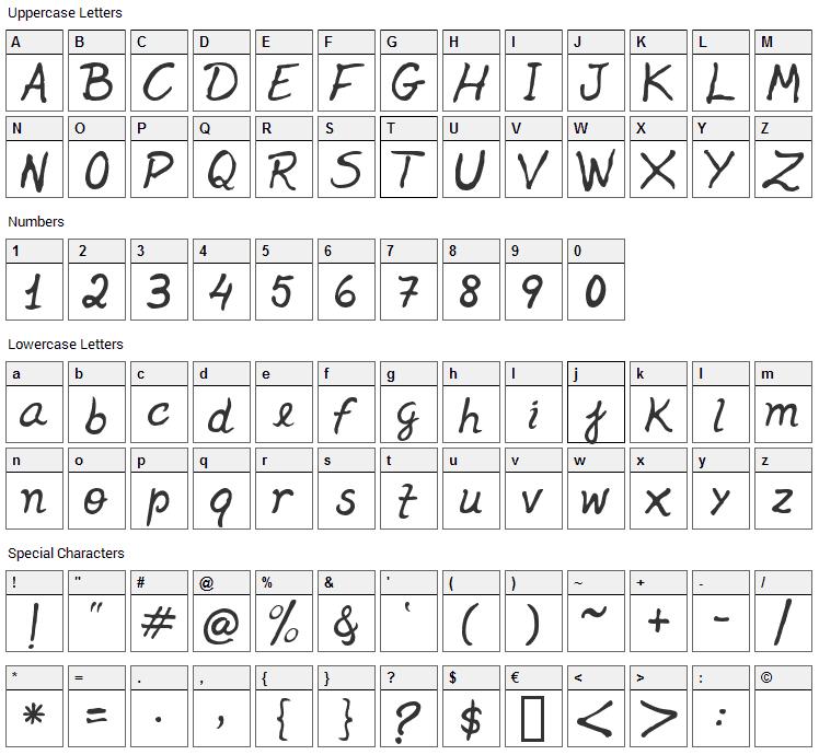 Jenelson Font Character Map