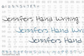 Jennifers hand writing Font