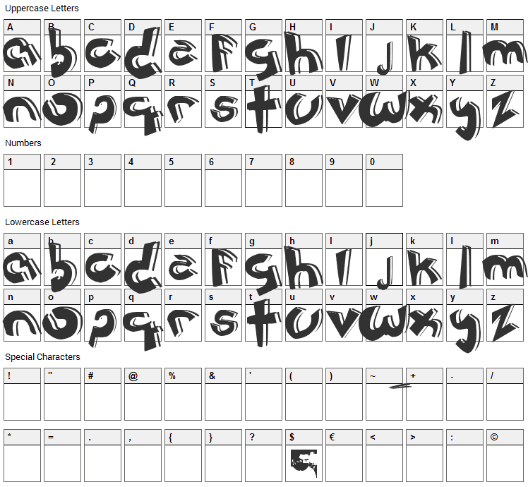 Jeronimo Cartoon Font Character Map
