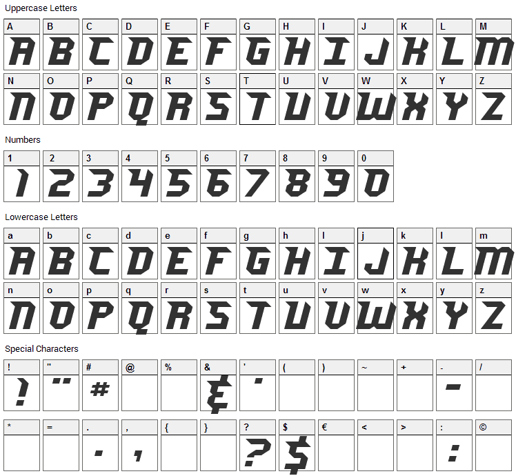Jersey Sharp Font Character Map