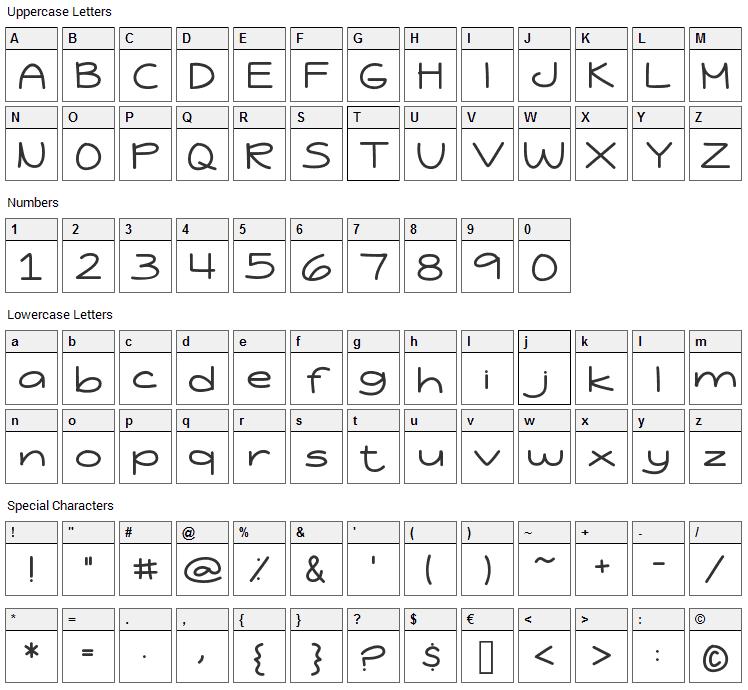 Jessica Elaine Font Character Map