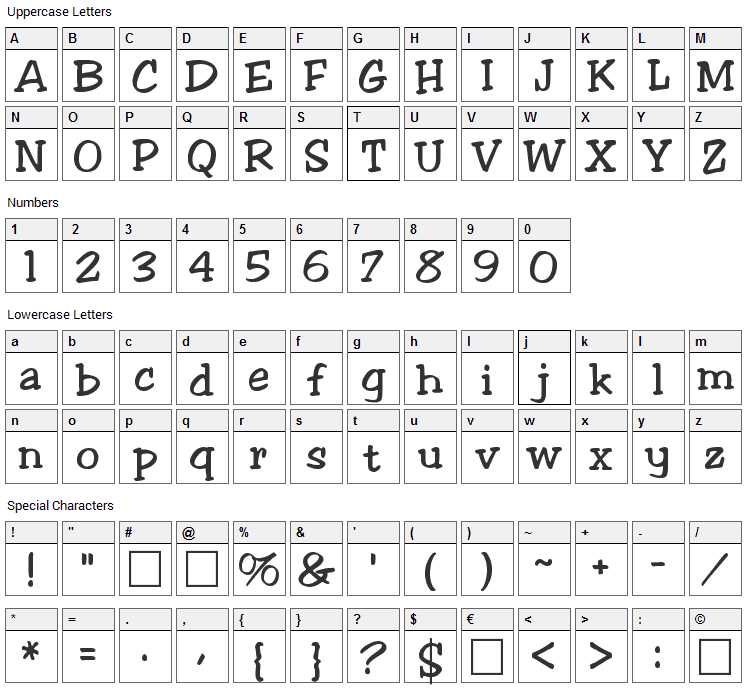 Jester Font Character Map