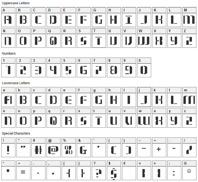 Jetway Font Character Map