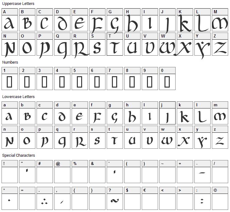 JGJ Uncial Font Character Map