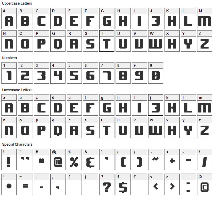 JHUF Font Character Map