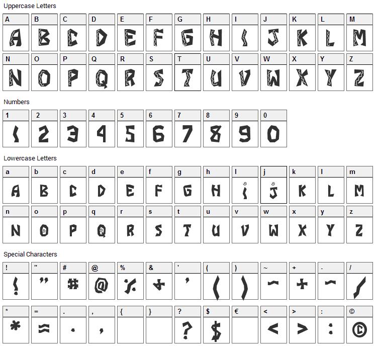 JI Burrito Font Character Map