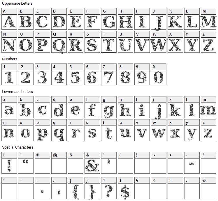 JI Hidden Vines Font Character Map