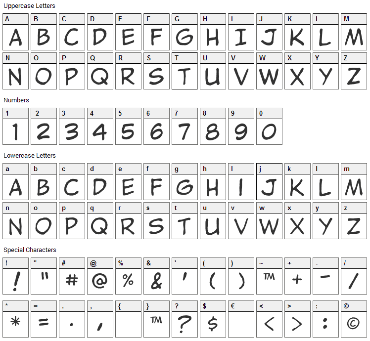 Jibbajabba Font Character Map