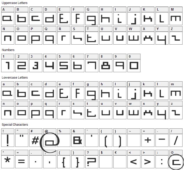 Jigga Jigga Font Character Map