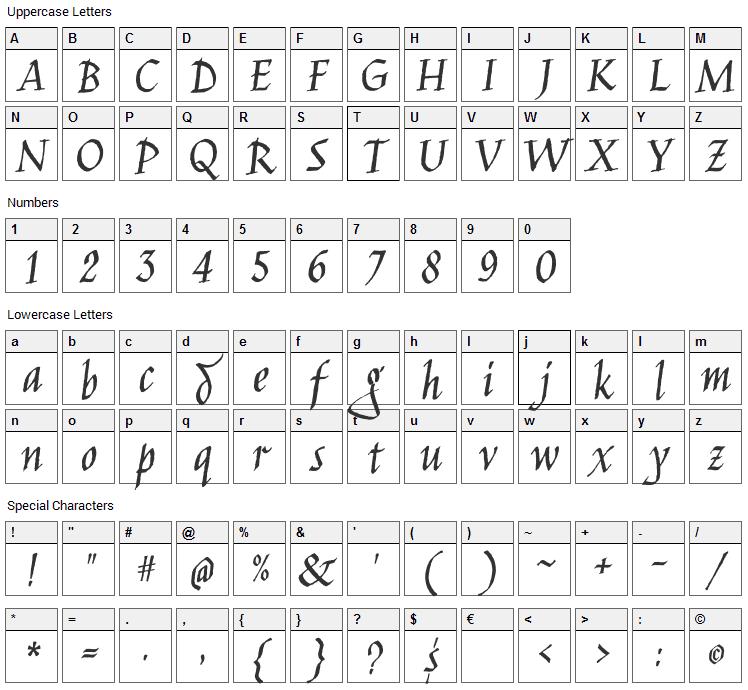 Jim Nightshade Font Character Map