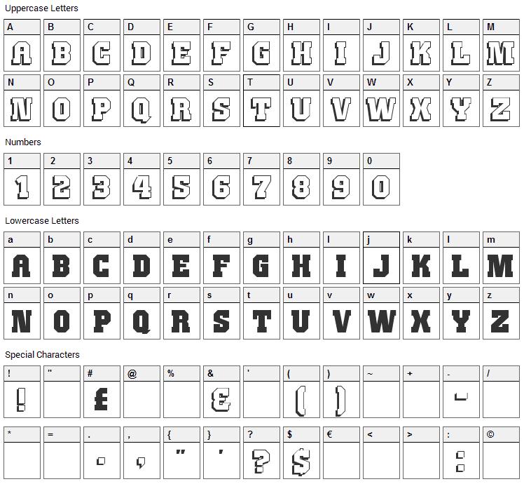 JimThorpe Font Character Map