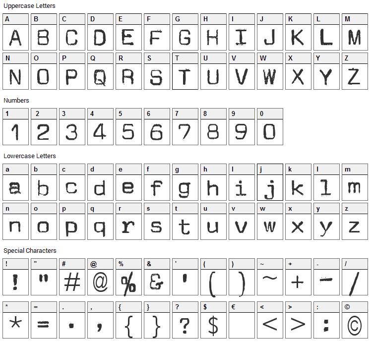 JM Letter Font Character Map