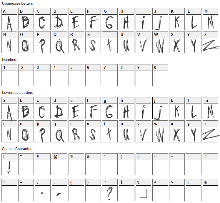 Jo wrote a lovesong Font Character Map