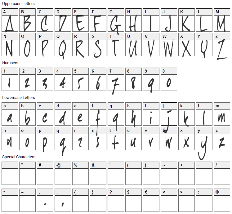 Joe Hand 1 Font Character Map