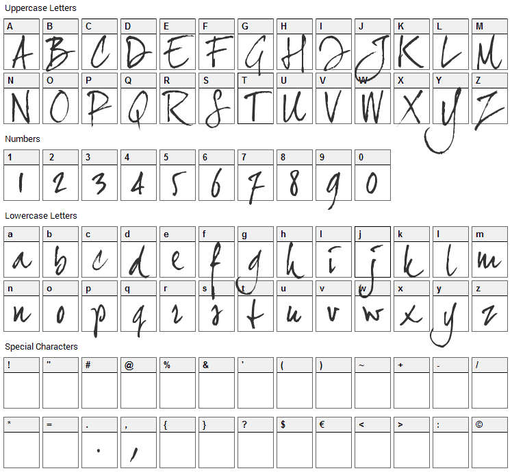 Joe Hand 2 Font Character Map