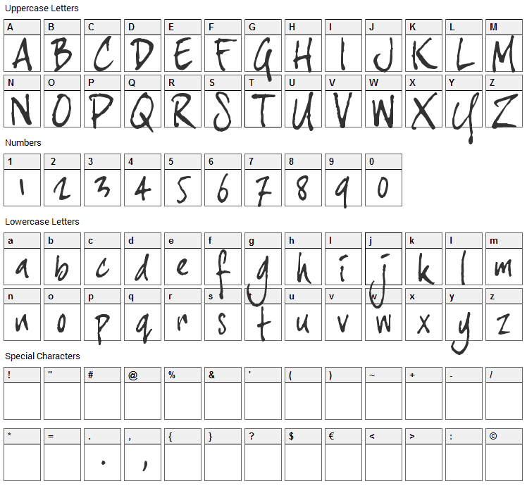 Joe Hand 3 Font Character Map
