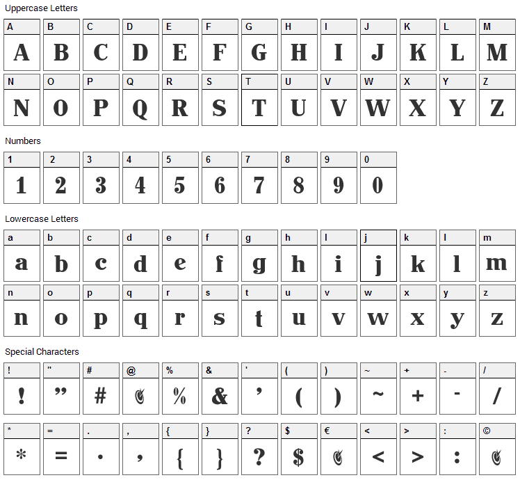 John Hancock Font Character Map