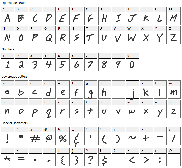Johnny Mac Scrawl Font Character Map