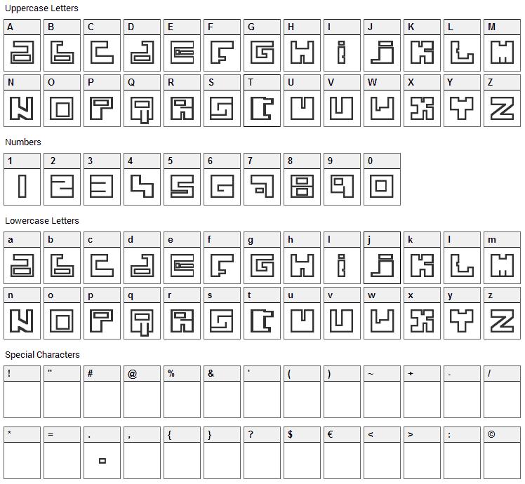 Joker Krew Font Character Map
