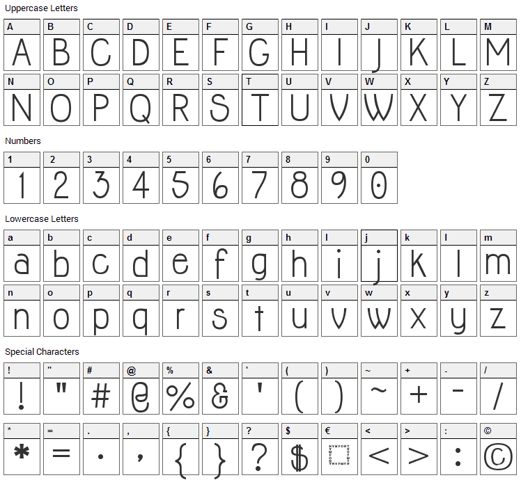 Jolly Font Character Map