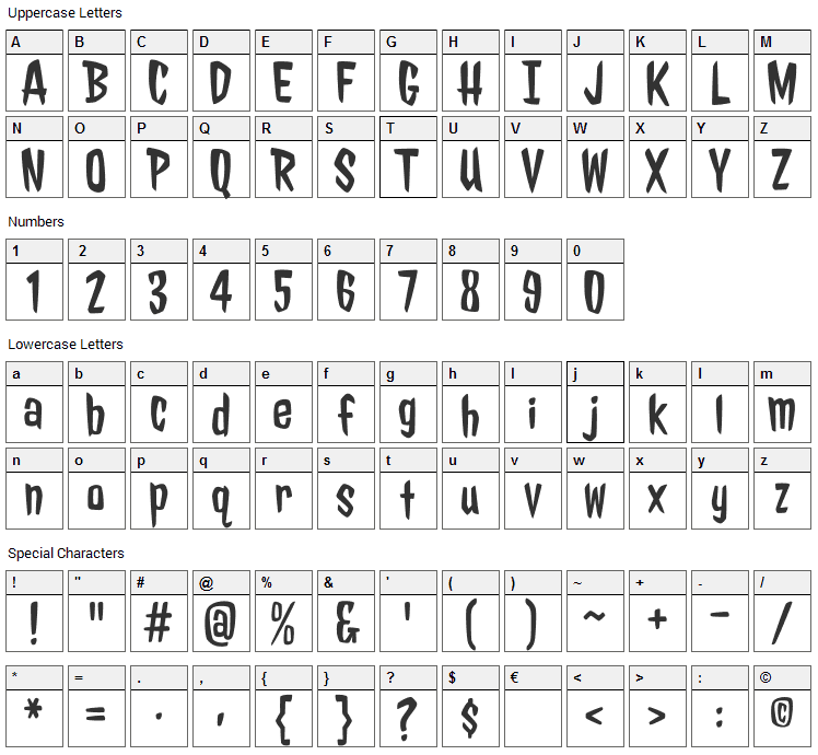 Jolly Lodger Font Character Map