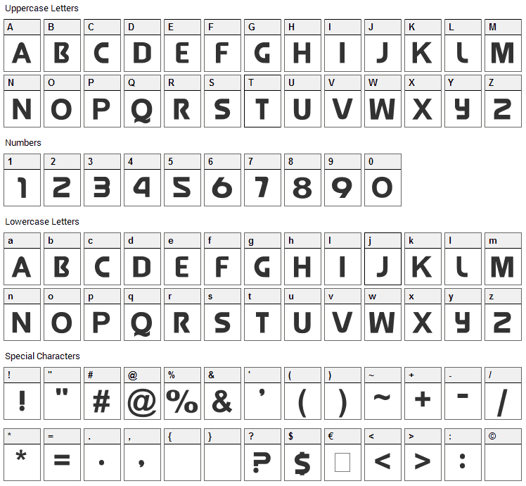 Jolly Raunchy Font Character Map