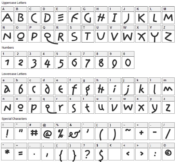 Jonas Font Character Map