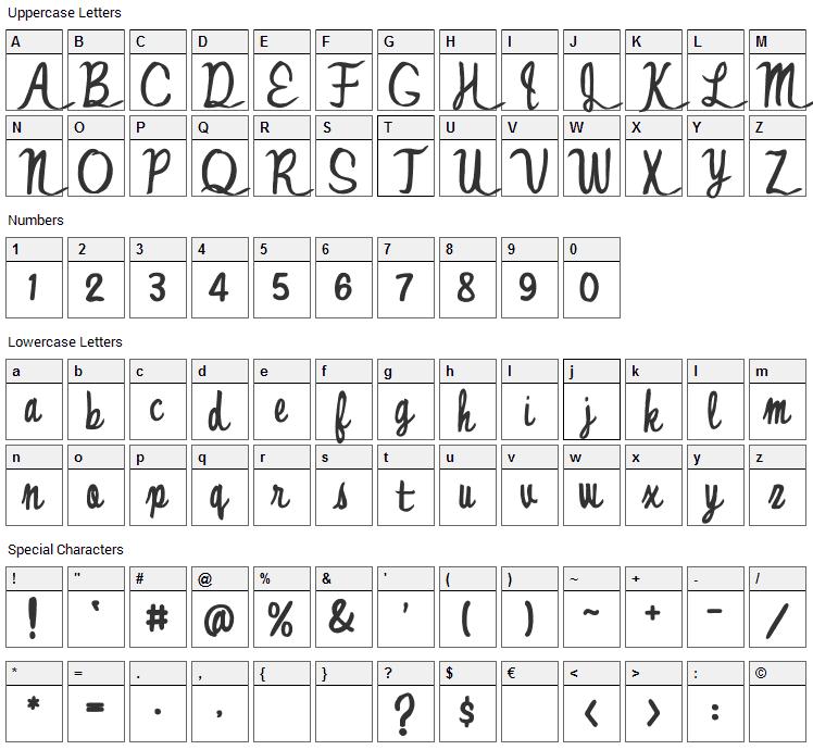 Jonny Quest Classic Font Character Map
