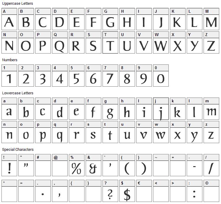 Jorvik Informal Font Character Map