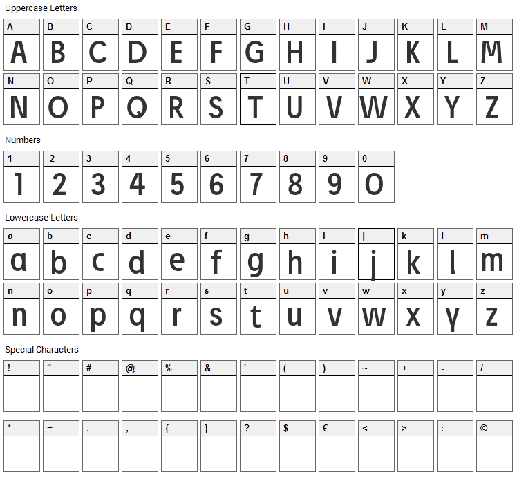 Josef Pro Font Character Map