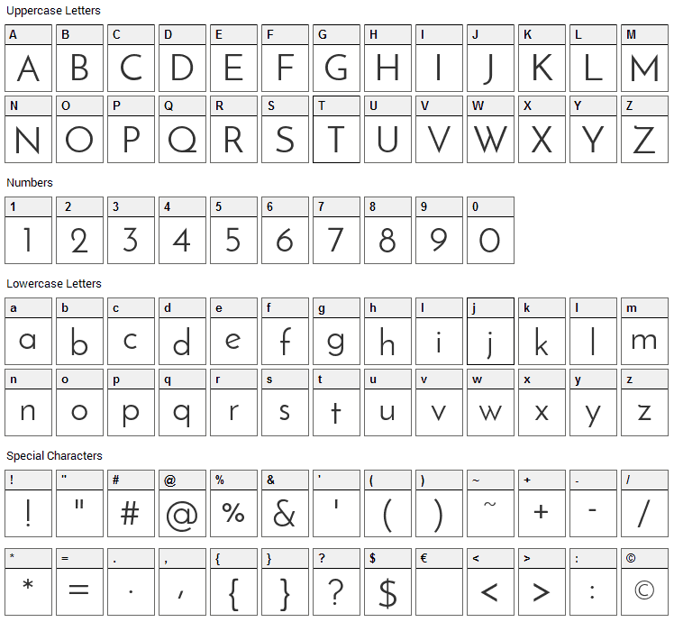 Josefin Sans Font Character Map