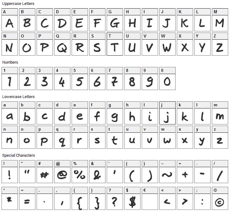Josschrift Bold Font Character Map