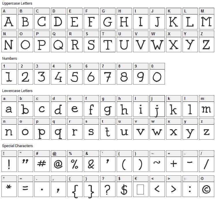 Josschrift Serif Font Character Map