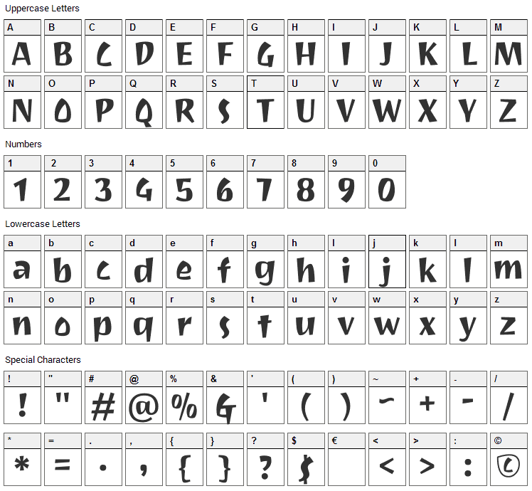 Joti One Font Character Map