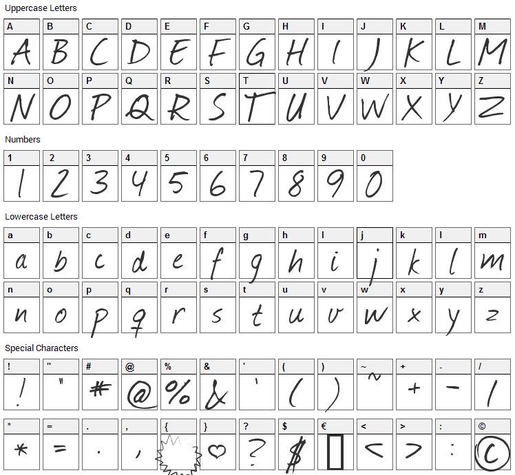Journal Font Character Map